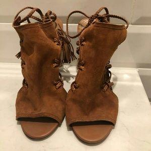 Aquazzura Tan Suede Sahara Sandals